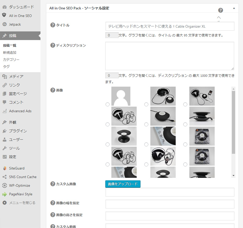 All in One SEO Pack - 投稿画面