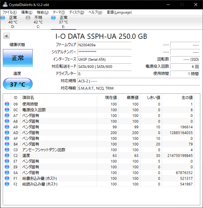 I-O DATA SSPH-UA250KのCrystalDiskInfoの画面。