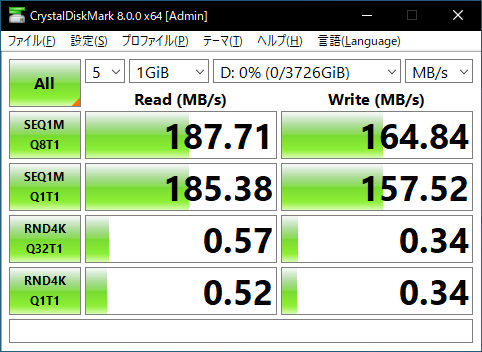 TOHSHIBA Canvio Desktop HD-TDA4U3のCrystalDiskMarkのスコア