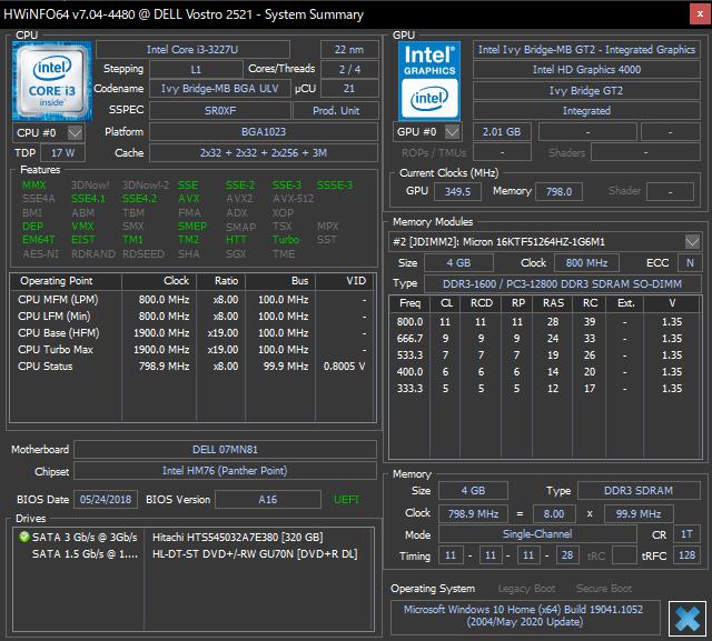 HWiNFO64でVostro 2521のハードウェア情報を確認
