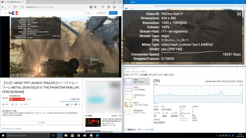 Edge上のYouTube フルHD60p