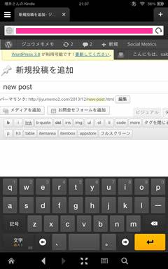 Kindle Fire HDX Silk WordPress