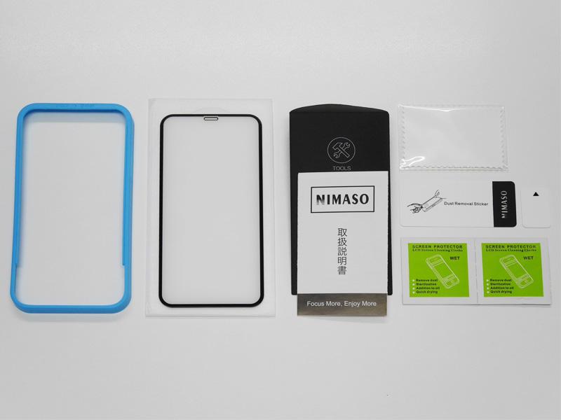 Nimasoガラスフィルムのセット内容